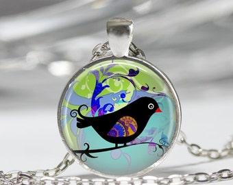 Bird on Branch Necklace Bird Jewelry Boho Jewelry Blue Jewelry Gift for Her
