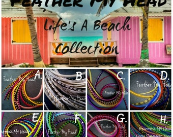 16 Pc DIY Kit Feather Hair Extensions Premium Grade - Long 11-14 In (28-36cm) Pick Your Pack Life's A Beach Collection - Beads Instructions