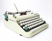 Vintage Portable Typewriter, Olympia Monica SCRIPT Typewriter with Case, WORKING Cursive Typewriter