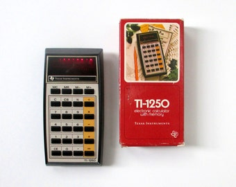 Vintage Texas Instruments Calculator, Model TI-1250 with Original Box, Retro Office Supplies