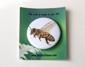 Bee Badge - From Original Artwork - Honey Bee - Little Gift