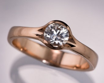 Round White Sapphire Fold Solitaire Engagement, Semi-bezel Solitaire Ring in Rose Gold, Yellow Gold, White Gold, Palladium or Platinum