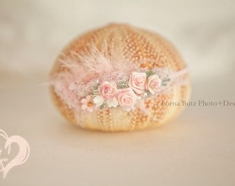 Magical in Pinks Blush pinks,  babies breath, tiny daisies organza head tie babys 1st photos Newborns Delicate Dainty RTShip