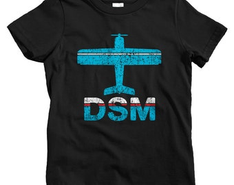 Kids Fly Des Moines T-shirt - DSM Airport - Baby, Toddler, and Youth Sizes - Iowa Tee, 515, Travel - 2 Colors