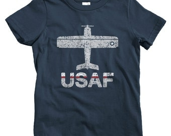 Kids Fly USAF T-shirt - Baby, Toddler, and Youth Sizes - U.S. Air Force Tee, Gift - 2 Colors