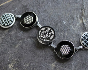 Antique Button Bracelet, Black Glass Buttons, silver luster