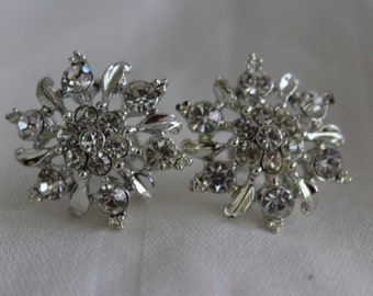 Rhinestone Earrings Vintage Snowflakes