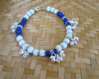 Sister Moon 13 Silver Bells Cobalt Blue and White Glass Bead Anklet