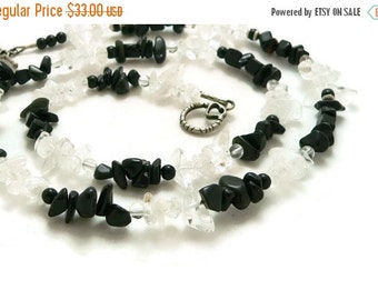 SALE Black Onyx and Quartz Crystal Necklace or Triple Wrap Bracelet - Sterling Silver - Gemstone Jewelry - Artisan Jewelry