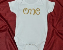 One Year Old...Onesie...First Year Oufit...Cake Smash Outfit...First Birthday Onesie...Baby Bodysuit...Gold Sparkle Letters...One