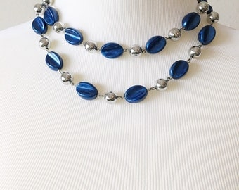 Vintage Two Strand Silver Tone and Blue Bead Necklace
