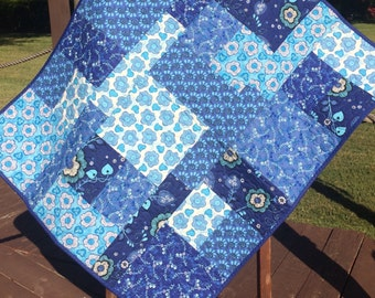 "A Modern and Edgy 36"" X 42"" Color Block Quilt In Shades of Blue"