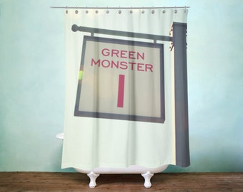 Green Monster Shower Curtain, Boston Red Sox Decor, Man Cave Decor, Baseball Fan, Decor, Master Bath Decor, For Him, For Her, Fenway Decor