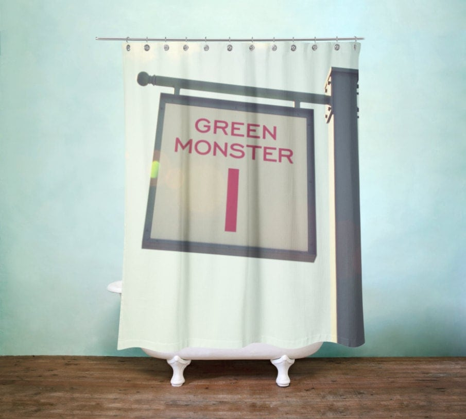 Green Monster Shower Curtain Boston Red Sox Decor Man