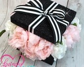SAMPLE CLEARANCE Glitter Black, Black & White Stripes and Baby Pink Faux Silk Peonies Roses Centerpiece Box - Sold As Is - Ready To Ship