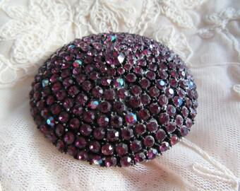 Rhinestone Pin Encrusted Purple Amethyst Japanned Dome Brooch Vintage Costume Jewelry Mad Men Glitz MoonlightMartini