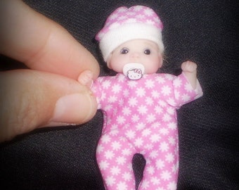 Ooak miniature baby girl with magnetic pacifier  for Dollhouse 1:12 scale