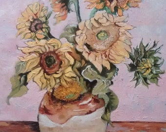 Sunflowers in French Pot, Original oil painting on stretched canvas, Impressionist painting,  Impasto Painting, Still life, Palette knife