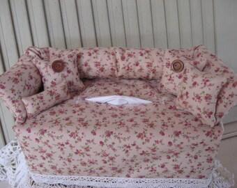 Couch Tissue Box Cover Mini Couch Soft Beige with Mini Rose Print Buttons Home Decor Bathroom Decor Bedroom Decor Room Accessory