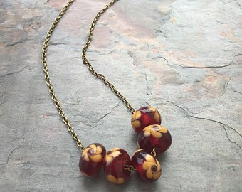 Lampwork Jewelry - Lampwork Necklace - Flower Jewelry - Mom Gift - Wife Gift - Burgundy Jewelry - Mother's Day - Glass Pendants