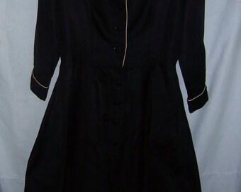 Vintage Womens Silk Black Full Dress