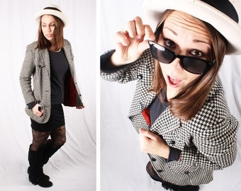 80s Houndstooth Black and White Blazer / Size Medium