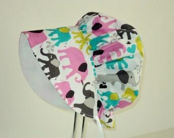 Baby Bonnet, Baby Sun Hat, Baby Girl Sun Bonnet, Summer Hat, Baby Hat, Elephant Sun Hat ,Toddler Hat, Girls Bonnet, Baby Cap, Made To Order