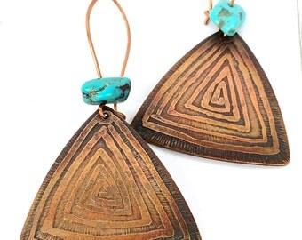 Rustic Earrings Boho - Geometric Jewelry - Copper Jewelry Bohemian - Boho Earrings for Women - Ethnic Jewelry - Triangle Earrings  Boho