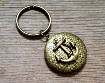 Anchor Locket Keychain, Nautical Locket Key Ring, Father's Day, Antiqued Brass Anchor Locket, Sailor Locket, Nautical Keychain