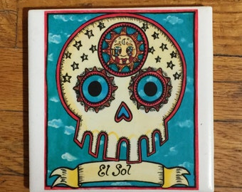 El Sol (The Sun) Ceramic Tile Coaster -  Loteria and Day of the Dead skull Dia de los Muertos calavera designs