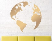 wall decals- map decal-  Earth decal - globe decal - world map decal-  vinyl wall decal - gold earth