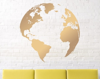 wall decals / map decal /  Nursery wall decal / Earth decal / globe decal / world map decal / vinyl wall decal / gold earth