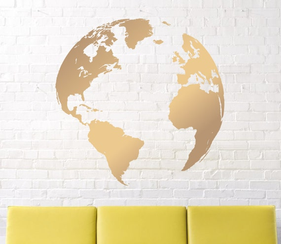 Wall decals map decal earth decal globe decal world map like this item gumiabroncs Choice Image