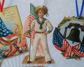 Patriotic 4th of July Gift Tags Ornaments Victorian Handmade Vintage Inspired  - Set of 16 Package 1
