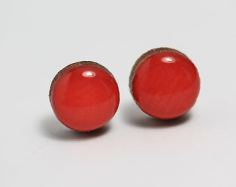 Bright Red Post Earrings - Titanium Hypoallergenic 9mm