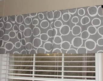 "Premier Prints Freehand Circles Storm Grey Gray and White Valance 50"" wide x 16"" long Lined Or Unlined"