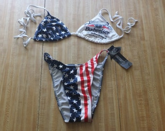 Budweiser Beer Vintage Beach Bikini Bathing Suit Swimwear 7/8