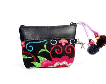 Pink Wallet Coin Pouch With Trim Leather Embroidered Thailand ( (BG290LWEL.20)