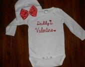 Daddy's Valentine Baby Onsie and Beanie Set