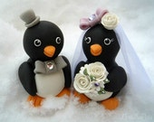 "Penguin wedding cake topper - love birds with banner for names and date, 3.3"" tall"