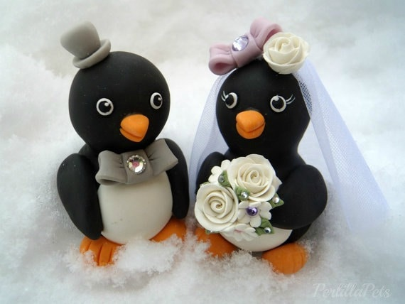 Penguin Wedding Cake Topper Love Birds With By Perlillapets