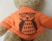 Teddy Bear Sweater - Hand knitted - Orange/Brown Owl design