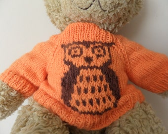 Teddy Bear Sweater - Hand knitted - Orange/Brown Owl design