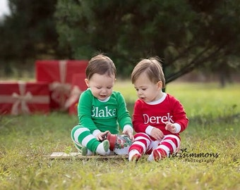 Items similar to Size 6 Month Kids Christmas Jammies - Babys first ...