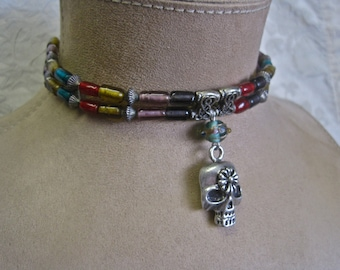 Skull Choker Day of the Dead  Vintage Glass Beads Silver Sugar Skull Gypsy Boho Festival One of a Kind