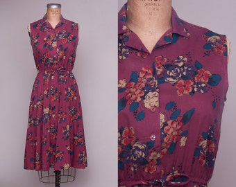70s Sleeveless Floral Boho Belted Waist Half Button Down Floral Cotton Day Dress