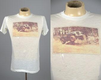 70s Photo Print Jeep 4 Wheeling Ultra Thin Car Club T Shirt