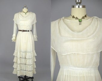 1920s Wedding Dress Ivory Cotton Bibbed Collar Dress