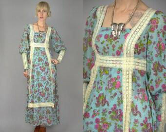 70s Bright Floral Boho Lace Empire Waist Prairie Hippie Renaissance Dress
