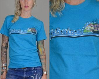 80s Lahaina Maui Hawaii Souvenir Turquoise Cotton Surf T Shirt
